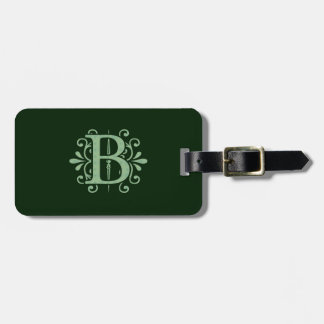 Alphabet letters - letter B - green Bag Tag
