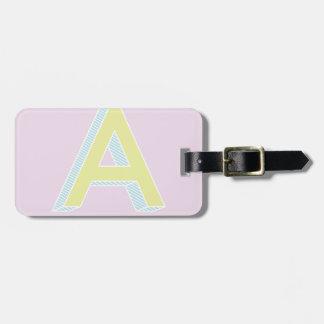 Alphabet Mauve A Bag Tag