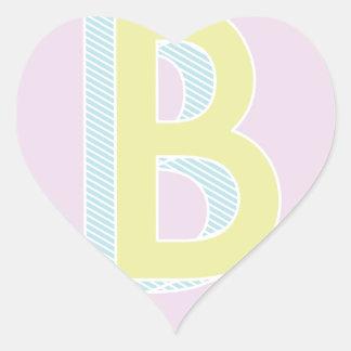 Alphabet Mauve B Heart Sticker