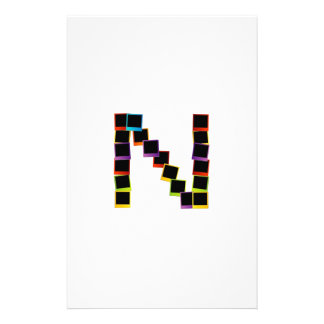 Alphabet N with colorful polaroids Stationery Design