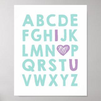 Alphabet Nursery art love you Girl ABC Aqua purple Poster