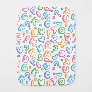 alphabet pattern burp cloth