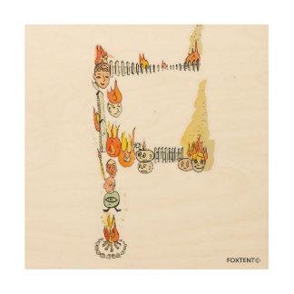 Alphabet Pile Letter F Wood Print