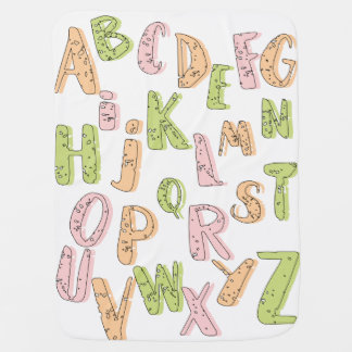 Alphabet pink green and orange baby blanket