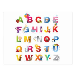 alphabet postcard