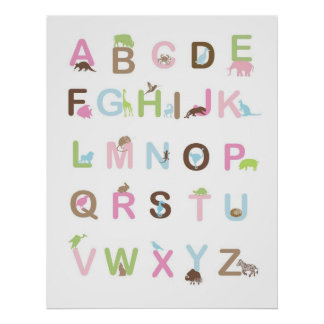 Alphabet poster in pinks and browns