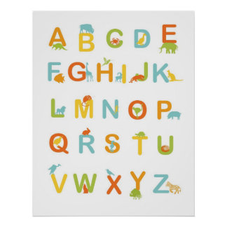 Alphabet poster with Sunny colors