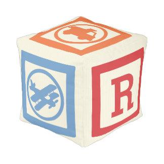 Alphabet Transportation Block Pouf