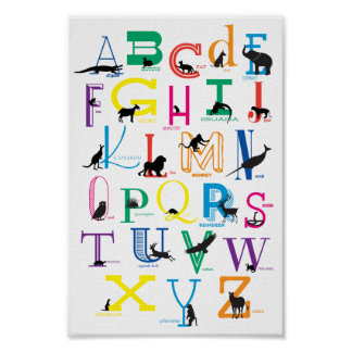 Alphabet with Animal Silhouettes Poster