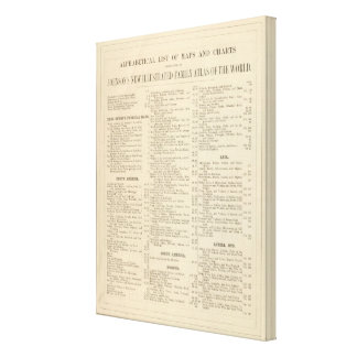 Alphabetical List of Maps and Charts Gallery Wrapped Canvas