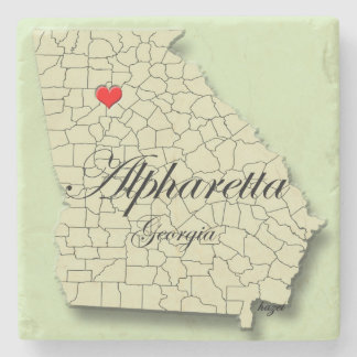 Alpharetta, Georgia, Heart, Map, Coasters