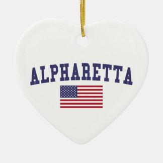 Alpharetta US Flag Ceramic Ornament