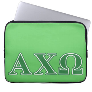 Alphi Chi Omega Green Letters Laptop Sleeve