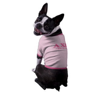 Alphi Chi Omega Pink Letters Doggie Tee Shirt