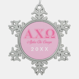 Alphi Chi Omega Pink Letters Snowflake Pewter Christmas Ornament