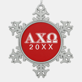 Alphi Chi Omega White and Red Letters Snowflake Pewter Christmas Ornament