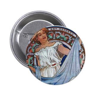 Alphons Mucha Artwork Pinback Button