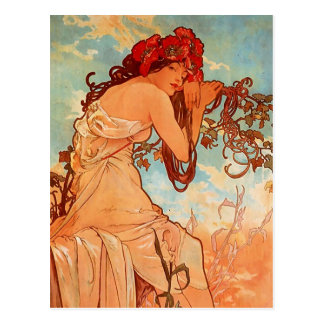 Alphons Mucha - The four season - SUMMER Postcard