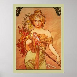 Alphonse (Alfons) Mucha Bouquet Poster