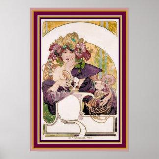Alphonse Mucha Ad Poster - Chocolat Ideal 13 x 19