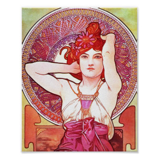 Alphonse Mucha Amethyst Floral Vintage Art Nouveau Poster