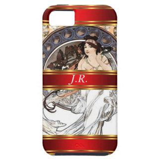 Alphonse Mucha and Red Add your initials Tough iPhone 5 Case