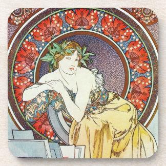 Alphonse Mucha Art Beverage Coasters