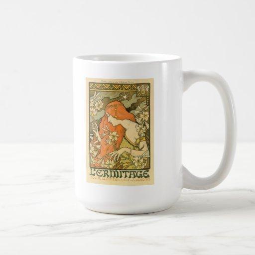Alphonse Mucha Art Deco Classic White Coffee Mug