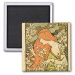 Alphonse Mucha Art Deco Magnets