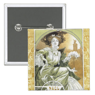 Alphonse Mucha - Art Nouveau 15 Cm Square Badge