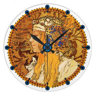 Alphonse Mucha Art Nouveau Clock