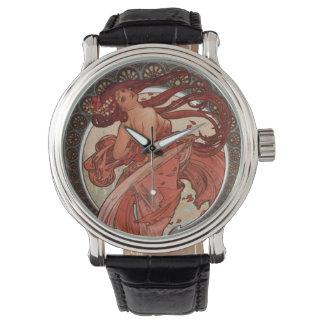 Alphonse Mucha Art Nouveau Lady Wristwatch