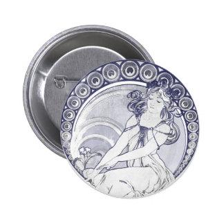 Alphonse Mucha Art Nouveau Pins