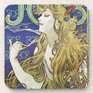 Alphonse Mucha Art Nouveau poster advertisment Beverage Coasters