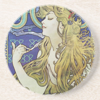 Alphonse Mucha Art Nouveau poster advertisment Coaster
