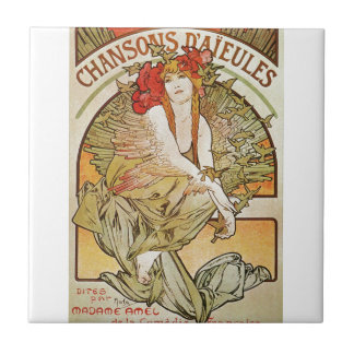 Alphonse Mucha Art Nouveau Small Square Tile