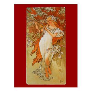 Alphonse Mucha - Art Nouveau - Spring Postcard