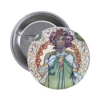 Alphonse Mucha art Pinback Buttons