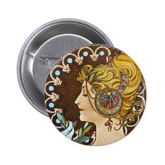 Alphonse Mucha Artwork Buttons