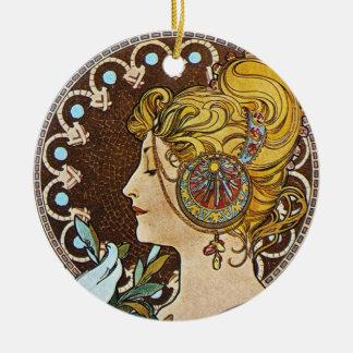 Alphonse Mucha Artwork Christmas Ornament