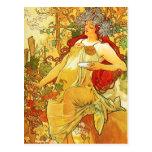 Alphonse Mucha Autumn Postcard