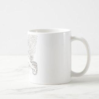 ALphonse Mucha Black and White lined drawing Coffee Mug
