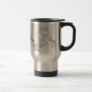 ALphonse Mucha Black and White lined drawing Stainless Steel Travel Mug