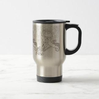 ALphonse Mucha Black and White lined drawing Travel Mug