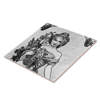 Alphonse Mucha Broken Blossoms Ceramic Tile