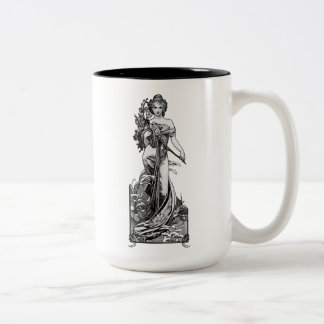 Alphonse Mucha Broken Blossoms Two-Tone Coffee Mug