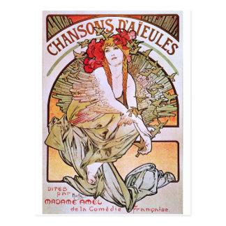 Alphonse Mucha. Chansons D 'Aieules, c.1898 Postcard