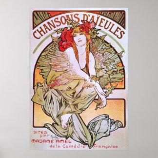 Alphonse Mucha. Chansons D 'Aieules, c.1898 Poster