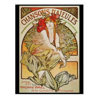 ALPHONSE MUCHA CHANSONS D`AJEULES POST CARDS