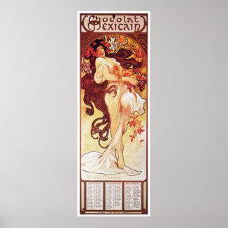 Alphonse Mucha, Chocolat Mexicain 1896 Poster